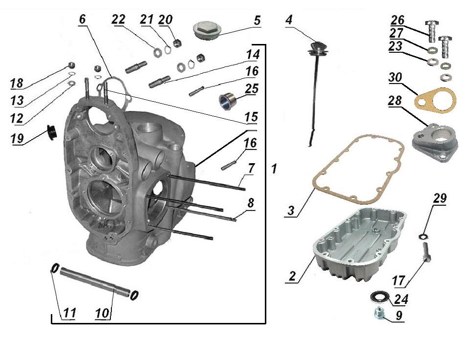 Crankcase, oil pan