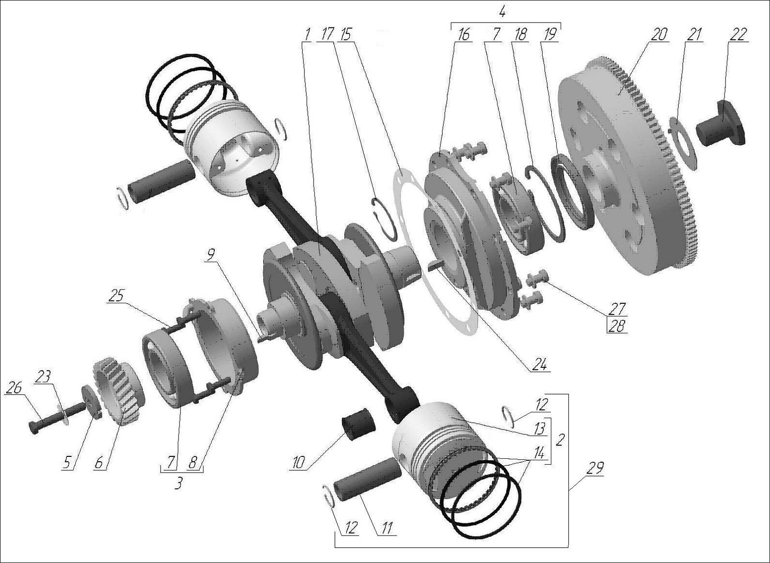 Crankshaft with conrods and pistons